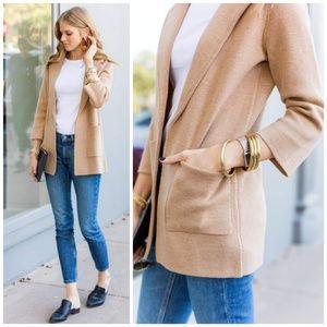 {S} J. Crew Camel Sweater Blazer Blogger Favorite